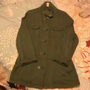 Cozy army green jersey cotton jacket